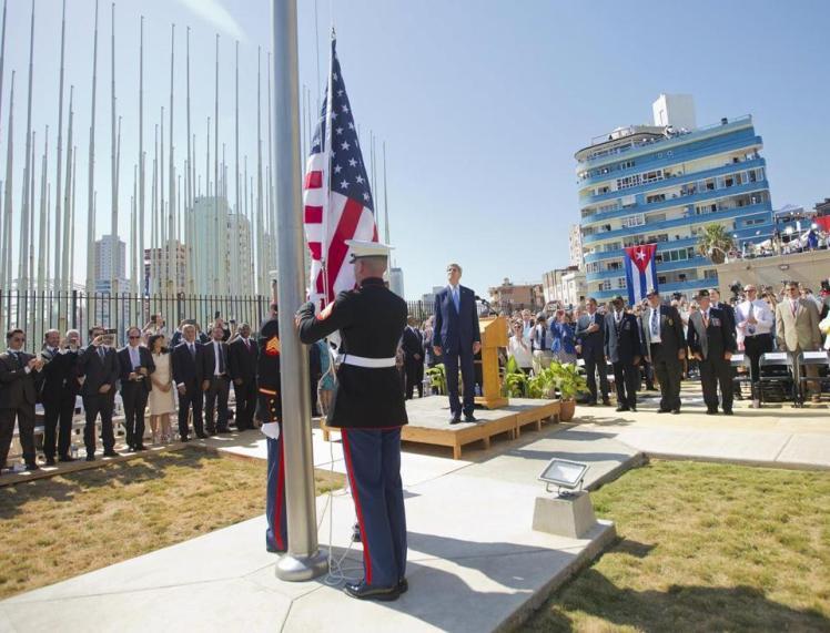 American Flag Raised at U.S. Embassy in Havana - WSJ